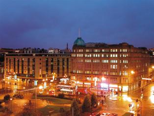 Skyline photograph of Bradford city centre at night