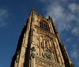 Photograph looking up at Derby Cathedral