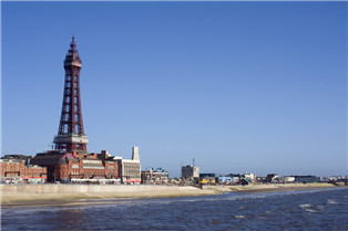 Photograph of buildings by the seaside in Lancashire