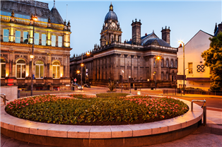 Photograph of traditional buildings and scenery in Leeds city centre