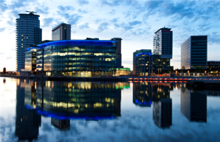 Photograph of Salford skyline in the evening