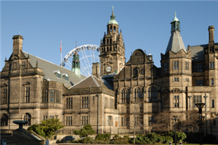 Photographs of numerous traditional buildings in Sheffield
