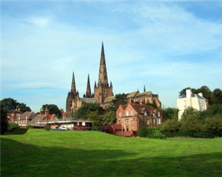 Photograph of Staffordshire buildings and countryside