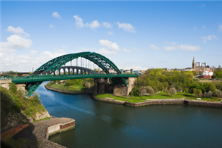 Photograph of a bridge and river in Sunderland